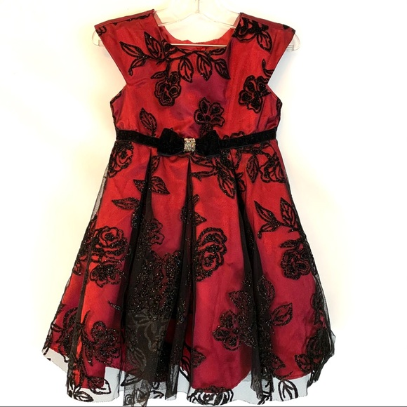 Jona Michelle Girls Red and Black Party Dress